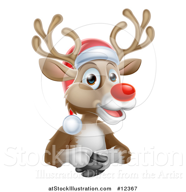 Vector Illustration of a Happy Red Nosed Reindeer Wearing a Christmas Santa Hat