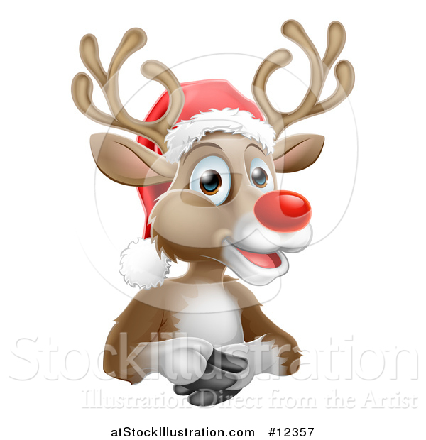Vector Illustration of a Happy Red Nosed Reindeer Wearing a Santa Hat