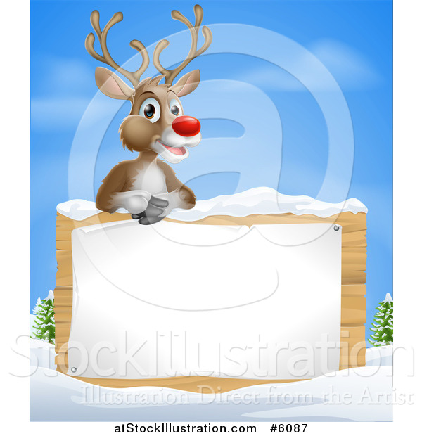 Vector Illustration of a Happy Red Nosed Rudolph Reindeer over a Winter Sign