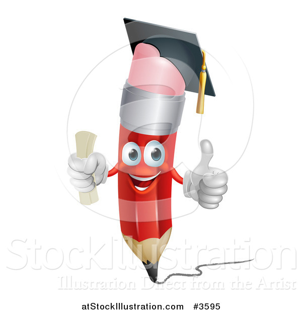 Vector Illustration of a Happy Red Pencil Mascot Graduate Holding a Thumb up