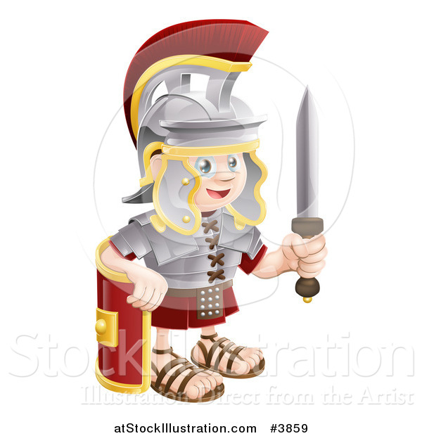 Vector Illustration of a Happy Roman Soldier Holding a Knife and Shield
