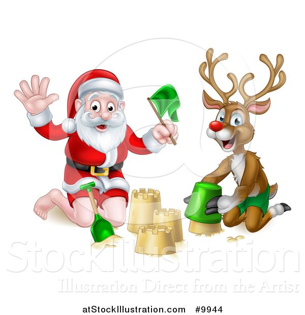Vector Illustration of a Happy Rudolph Red Nosed Reindeer and Santa Making a Sand Castle