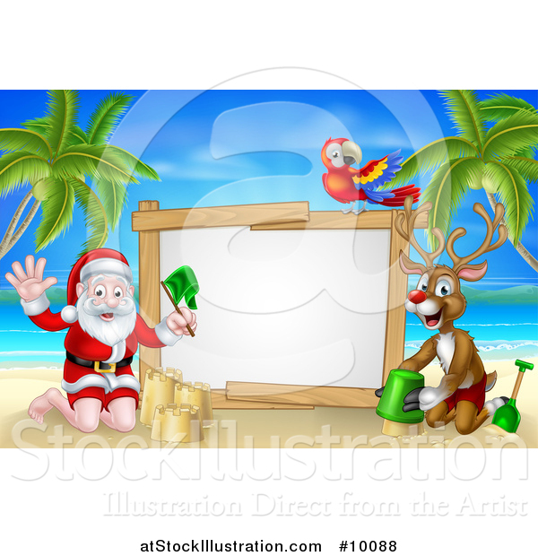 Vector Illustration of a Happy Rudolph Red Nosed Reindeer and Santa Making Sand Castles on a Tropical Beach by a Blank Sign with a Parrot