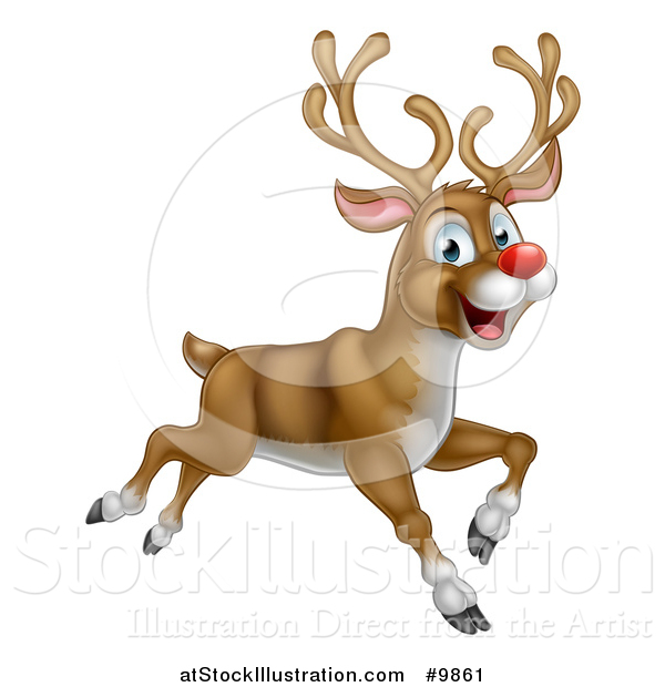 Vector Illustration of a Happy Rudolph Red Nosed Reindeer Leaping or Flying