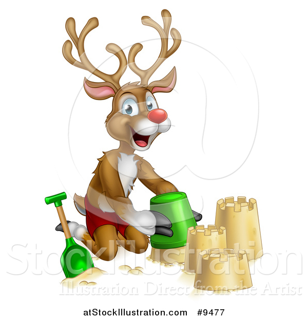 Vector Illustration of a Happy Rudolph Red Nosed Reindeer Making a Sand Castle