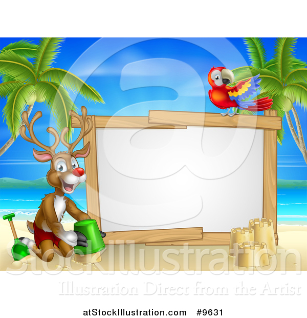 Vector Illustration of a Happy Rudolph Red Nosed Reindeer Making a Sand Castle on a Tropical Beach by a Blank Sign with a Parrot