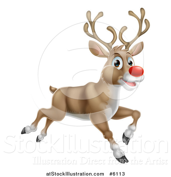 Vector Illustration of a Happy Rudolph Red Nosed Reindeer Running or Flying