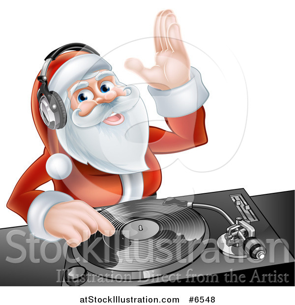 Vector Illustration of a Happy Santa Claus Dj Mixing Christmas Music on a Turntable