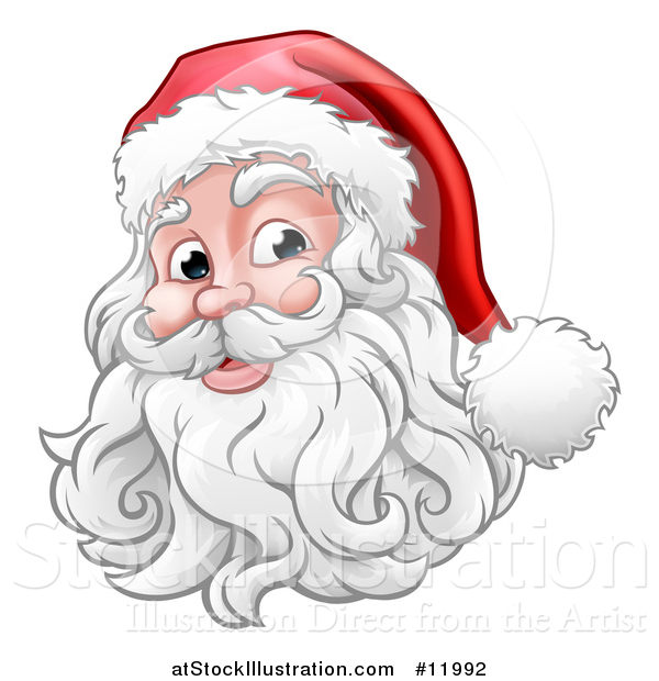 Vector Illustration of a Happy Santa Claus Face
