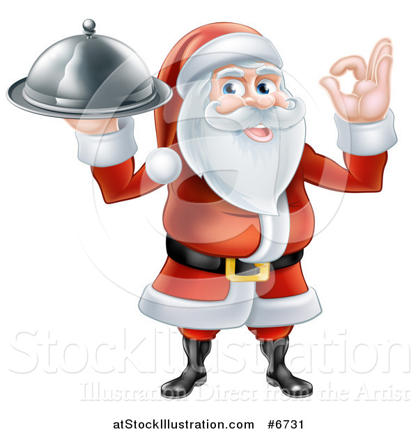 Vector Illustration of a Happy Santa Claus Gesturing Ok and Holding a Food Cloche Platter