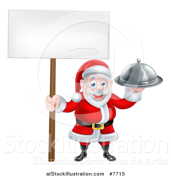 Vector Illustration of a Happy Santa Claus Holding a Silver Cloche Platter and Blank Sign