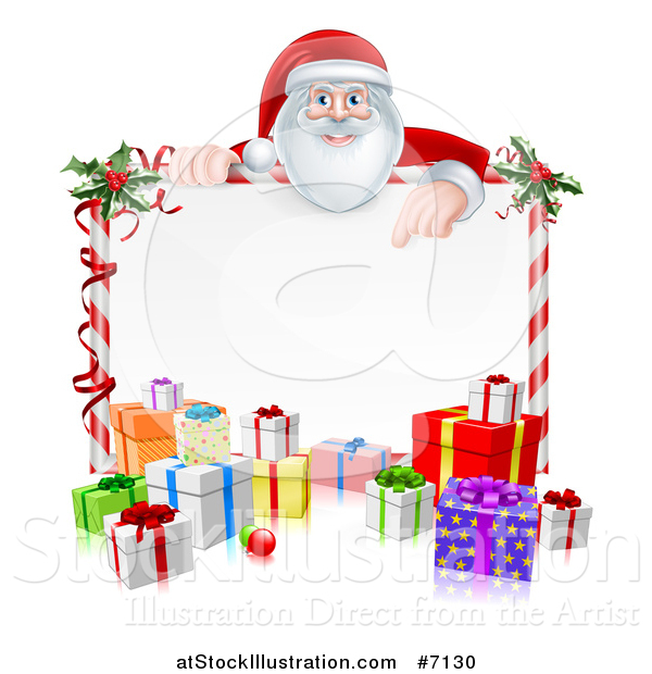 Vector Illustration of a Happy Santa Claus Pointing down over a Blank Candy Cane Framed Sign with Christmas Gifts and Holly