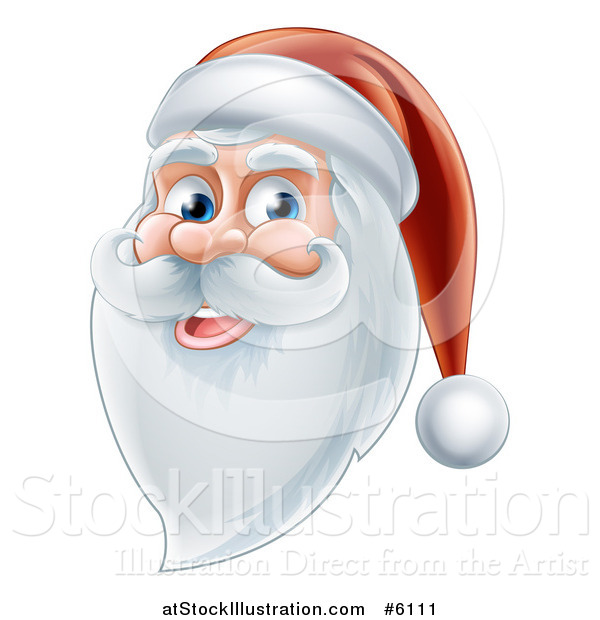 Vector Illustration of a Happy Santa Face with a Beard