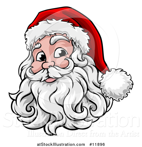 Vector Illustration of a Happy Santa Face with a Hat and Beard