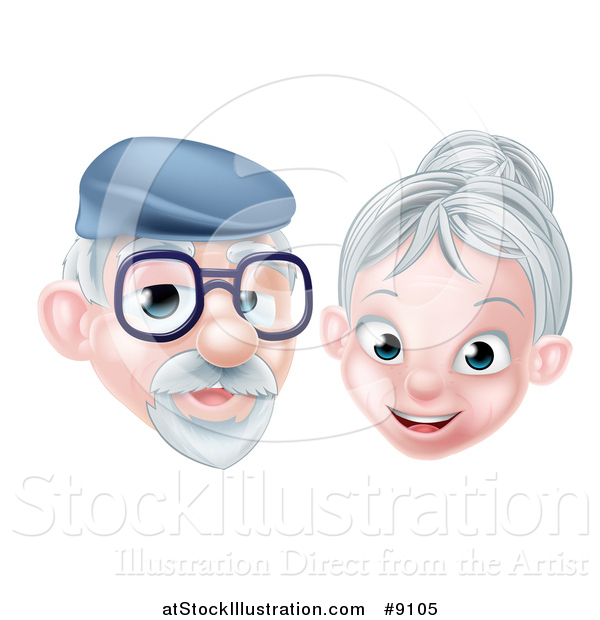 Vector Illustration of a Happy Senior Citizen Caucasian Couple
