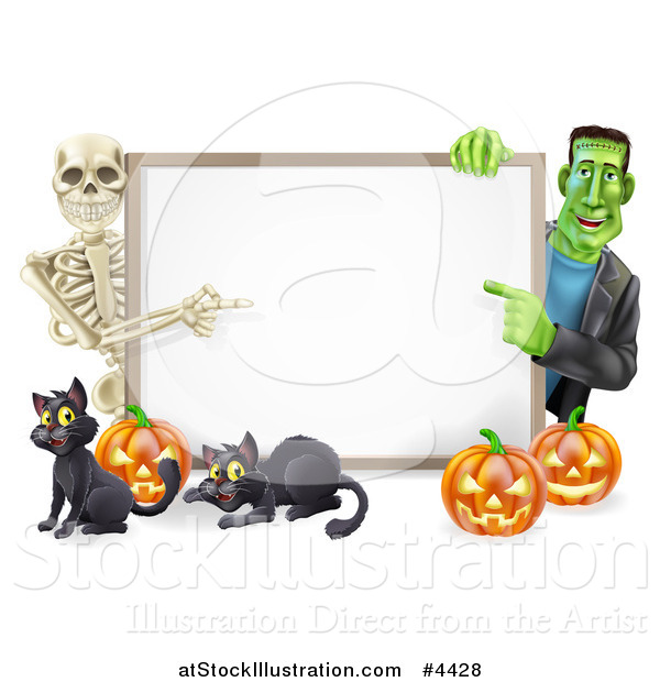 Vector Illustration of a Happy Skeleton and Frankenstein Pointing to a White Board Sign over Pumpkins and Black Cats
