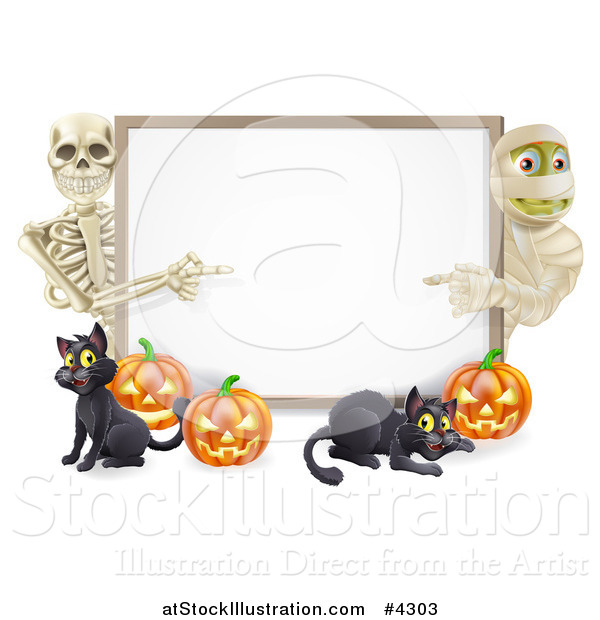 Vector Illustration of a Happy Skeleton Mummy Pumpkins and Black Cat Around a Blank Sign