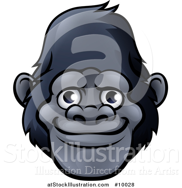 Vector Illustration of a Happy Smiling Gorilla Face Avatar