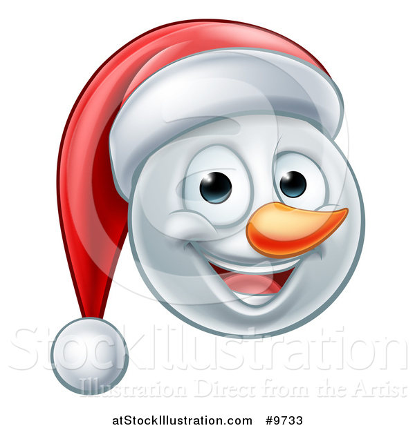 Vector Illustration of a Happy Snowman Face Wearing a Christmas Santa Hat
