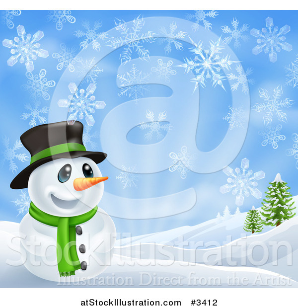 Vector Illustration of a Happy Snowman in a Scarf and Top Hat in a Winter Landscape