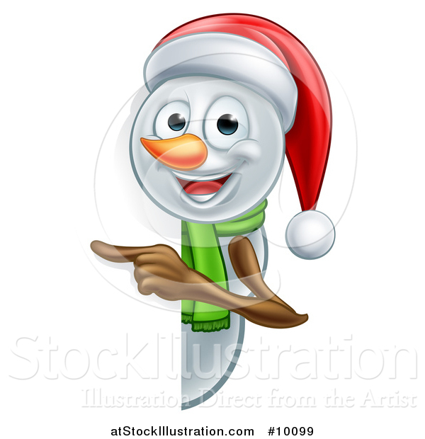 Vector Illustration of a Happy Snowman Wearing a Christmas Santa Hat and Pointing Around a Sign