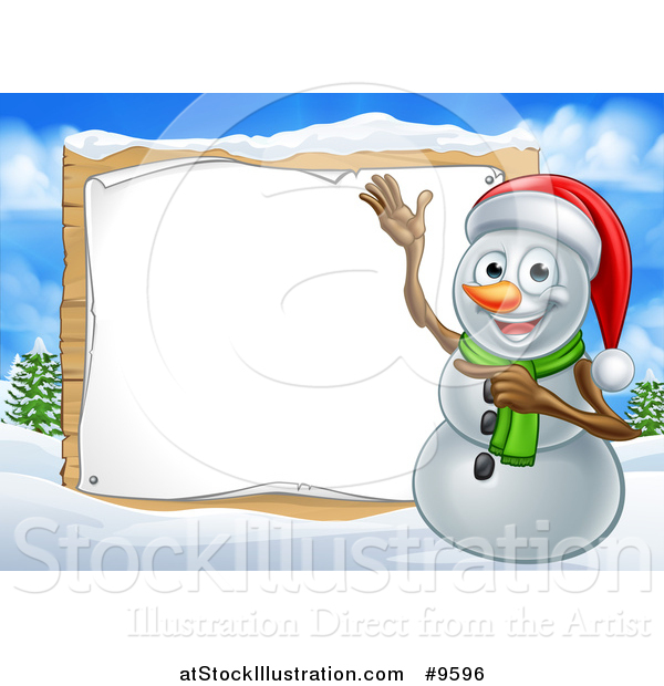 Vector Illustration of a Happy Snowman Wearing a Christmas Santa Hat and Pointing to a Blank Sign in a Winter Landscape