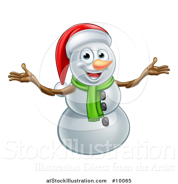 Vector Illustration of a Happy Snowman Wearing a Christmas Santa Hat and Welcoming