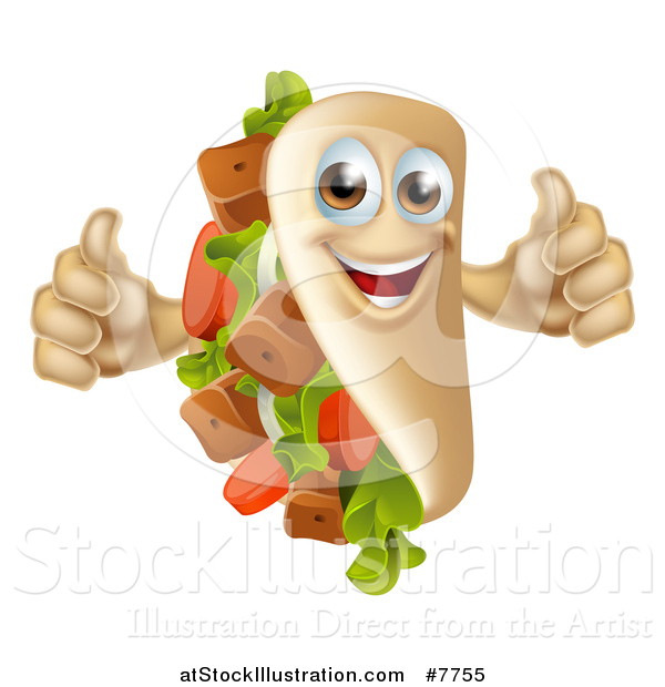 Vector Illustration of a Happy Souvlaki Kebab Sandwich Mascot Giving Two Thumbs up
