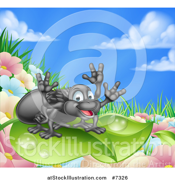 Vector Illustration of a Happy Spider on a Dewy Leaf, over Flowers, Grass and Blue Sky