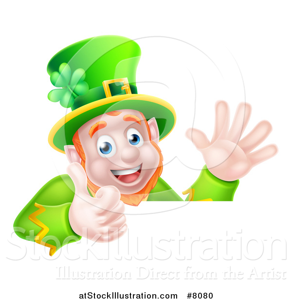 Vector Illustration of a Happy St Patricks Day Leprechaun Giving a Thumb up and Waving over a Sign