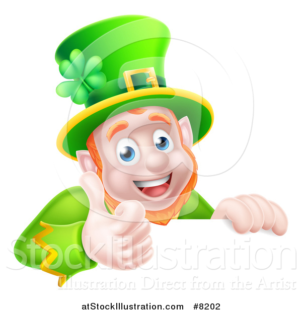 Vector Illustration of a Happy St Patricks Day Leprechaun Giving a Thumb up over a Sign