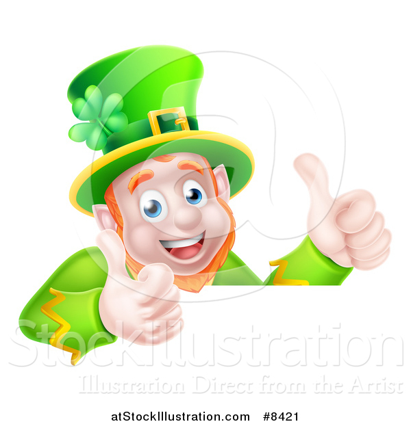 Vector Illustration of a Happy St Patricks Day Leprechaun Giving Two Thumbs up over a Sign