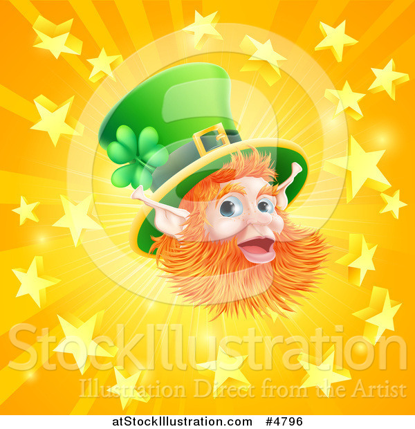 Vector Illustration of a Happy St Patricks Day Leprechaun over a Star Burst