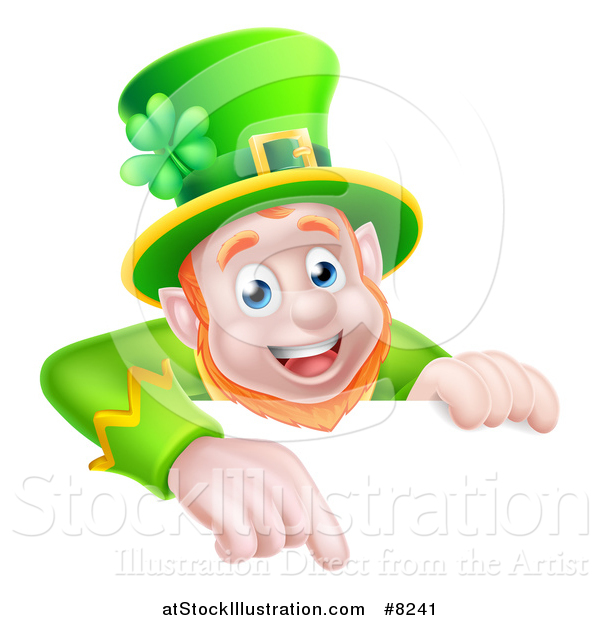 Vector Illustration of a Happy St Patricks Day Leprechaun Pointing down over a Sign