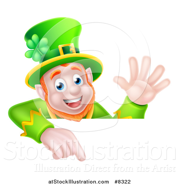 Vector Illustration of a Happy St Patricks Day Leprechaun Waving and Pointing down over a Sign