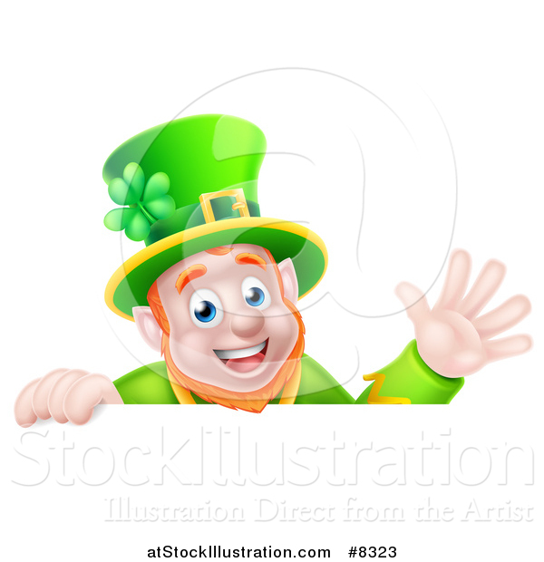 Vector Illustration of a Happy St Patricks Day Leprechaun Waving over a Sign