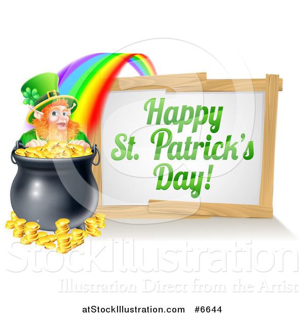 Vector Illustration of a Happy St Patricks Day Sign with a Rainbow Leading to a Leprechaun at a Pot of Gold