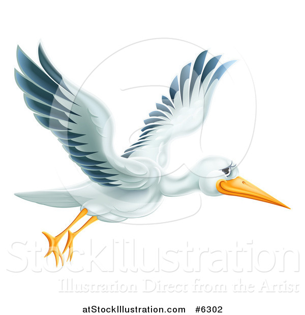 Vector Illustration of a Happy Stork Bird Flying to the Right
