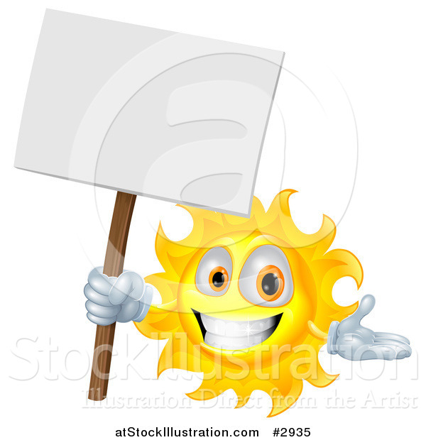 Vector Illustration of a Happy Sun Holding a Sign