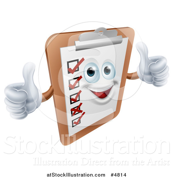 Vector Illustration of a Happy Survey Clipboard Holding Two Thumbs up