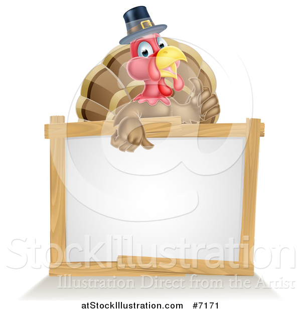 Vector Illustration of a Happy Thanksgiving Pilgrim Turkey Bird Giving a Thumb up over a Blank White Board Sign