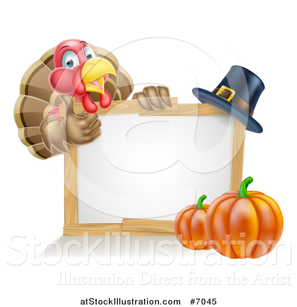 Vector Illustration of a Happy Thanksgiving Turkey Bird Giving a Thumb up over a Pumpkin, Blank White Board Sign and Pilgrim Hat