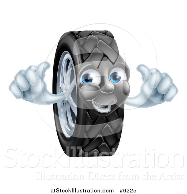Vector Illustration of a Happy Tire Character Holding Two Thumbs up