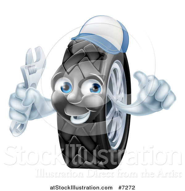 Vector Illustration of a Happy Tire Character Wearing a Baseball Cap, Giving a Thumb up and Holding a Wrench 2