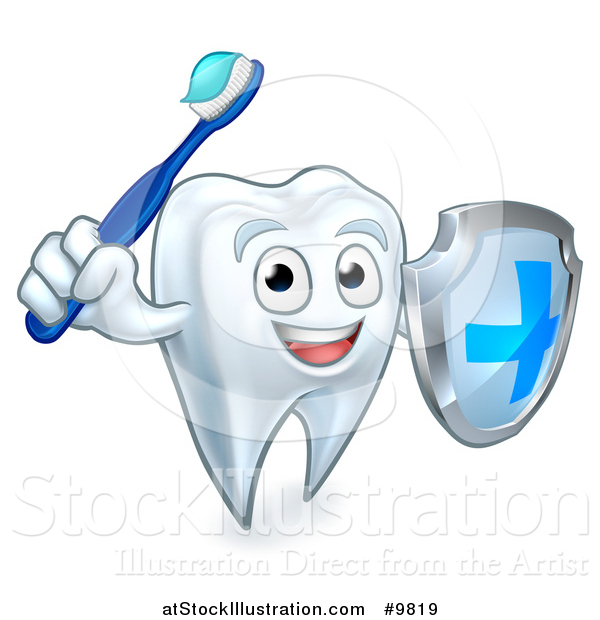 Vector Illustration of a Happy Tooth Character Holding a Toothbrush and Shield