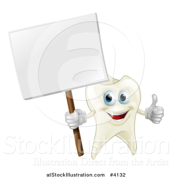 Vector Illustration of a Happy Tooth Mascot Holding a Thumb up and a Sign