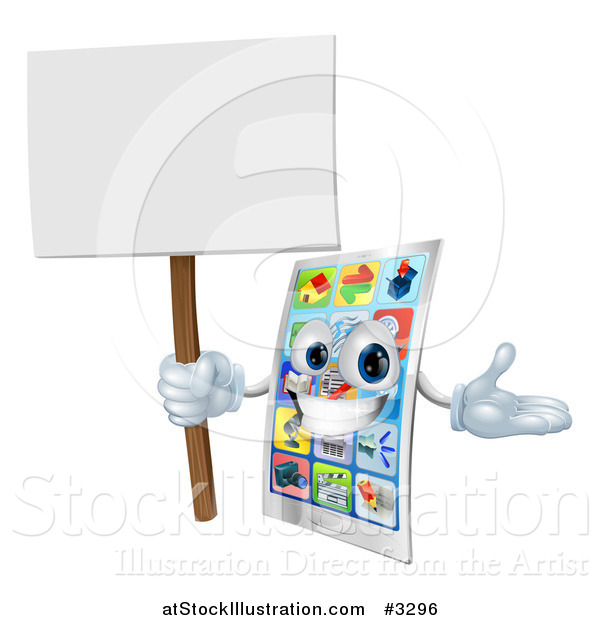 Vector Illustration of a Happy Touch Screen Cell Phone Holding a Sign