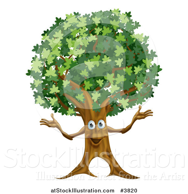 Vector Illustration of a Happy Tree Mascot