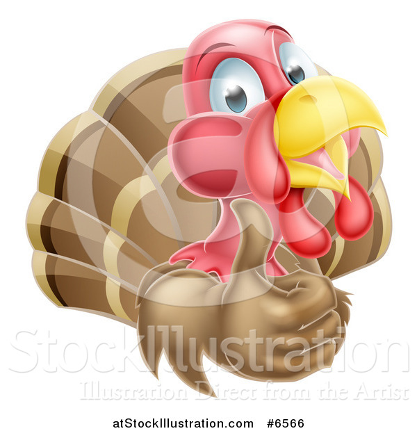 Vector Illustration of a Happy Turkey Bird Holding up a Thumb