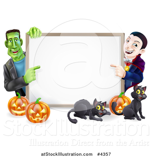 Vector Illustration of a Happy Vampire Frankenstein Pumpkins and Black Cats Around a Blank Sign
